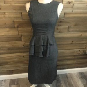 Cue Australia Grey Sheath Dress Ruffle Waist Size6